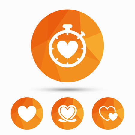 palpitation: Heart ribbon icon. Timer stopwatch symbol. Love and Heartbeat palpitation signs. Triangular low poly buttons with shadow. Vector