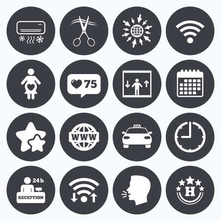 counter service: Calendar, wifi and clock symbols. Like counter, stars symbols. Hotel, apartment service icons. Barbershop sign. Pregnant woman, wireless internet and air conditioning symbols. Talking head, go to web symbols. Vector