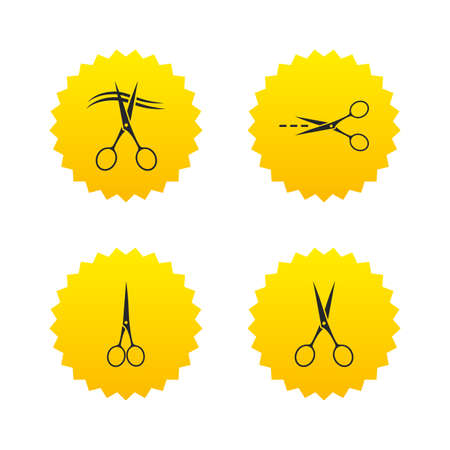yellow hair: Scissors icons. Hairdresser or barbershop symbol. Scissors cut hair. Cut dash dotted line. Tailor symbol. Yellow stars labels with flat icons. Vector Illustration