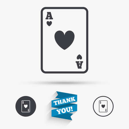 ace of hearts: Casino sign icon. Playing card symbol. Ace of hearts. Flat icons. Buttons with icons. Thank you ribbon. Vector