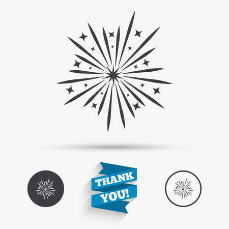 explosive sign: Fireworks sign icon. Explosive pyrotechnic show symbol. Flat icons. Buttons with icons. Thank you ribbon. Vector