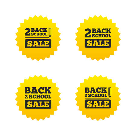 vector studies: Back to school sale icons. Studies after the holidays signs. Pencil symbol. Yellow stars labels with flat icons. Vector