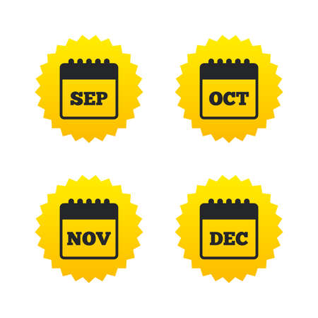 sep: Calendar icons. September, November, October and December month symbols. Date or event reminder sign. Yellow stars labels with flat icons. Vector