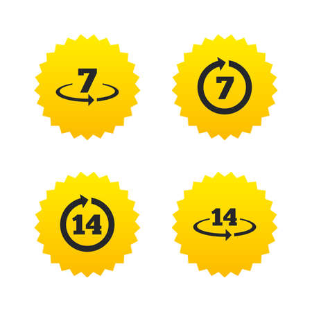 Return of goods within 7 or 14 days icons. Warranty 2 weeks exchange symbols. Yellow stars labels with flat icons. Vector