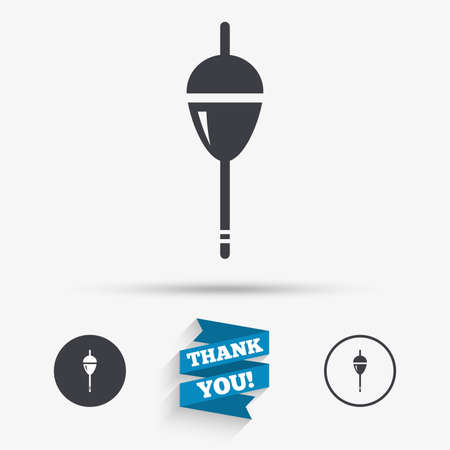 bobber: Fishing sign icon. Float bobber symbol. Fishing tackle. Flat icons. Buttons with icons. Thank you ribbon. Vector