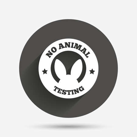 tested: No animals testing sign icon. Not tested symbol. Circle flat button with shadow. Vector