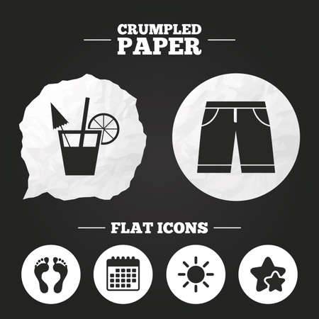 swimming trunks: Crumpled paper speech bubble. Beach holidays icons. Cocktail, human footprints and swimming trunks signs. Summer sun symbol. Paper button. Vector