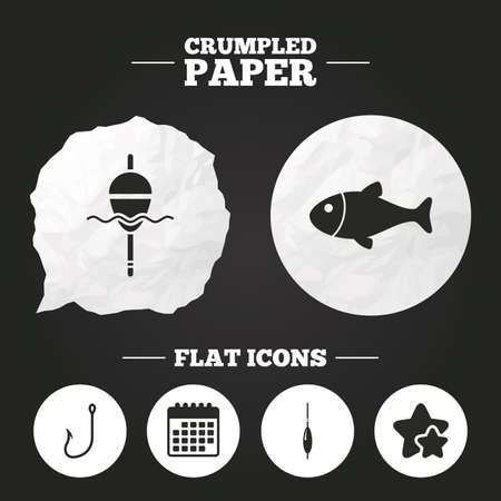 fishermen: Crumpled paper speech bubble. Fishing icons. Fish with fishermen hook sign. Float bobber symbol. Paper button. Vector Illustration