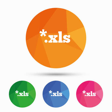 xls: Excel file document icon. Download xls button. XLS file extension symbol. Triangular low poly button with flat icon. Vector