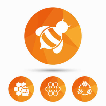 pollination: Honey icon. Honeycomb cells with bees symbol. Sweet natural food signs. Triangular low poly buttons with shadow. Vector