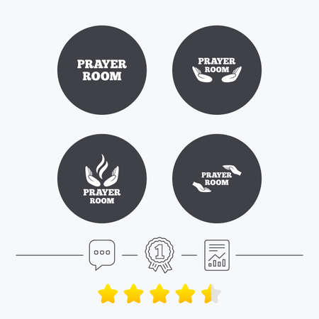 chat room: Prayer room icons. Religion priest faith symbols. Pray with hands. Chat, award medal and report linear icons. Star vote ranking. Vector Illustration