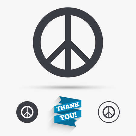 antiwar: Peace sign icon. Hope symbol. Antiwar sign. Flat icons. Buttons with icons. Thank you ribbon. Vector Illustration