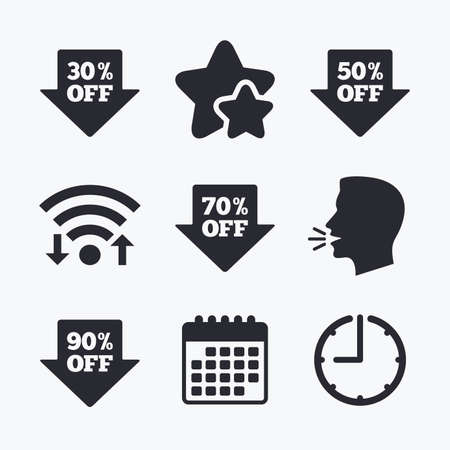 head tag: Sale arrow tag icons. Discount special offer symbols. 30%, 50%, 70% and 90% percent off signs. Wifi internet, favorite stars, calendar and clock. Talking head. Vector