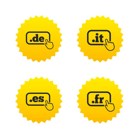 vector es: Top-level internet domain icons. De, It, Es and Fr symbols with hand pointer. Unique national DNS names. Yellow stars labels with flat icons. Vector