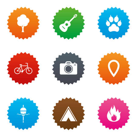 Tourism, camping icons. Fishing, fire and bike signs. Guitar music, photo camera and paw with clutches. Stars label button with flat icons. Vector Illustration