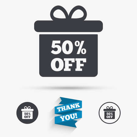 you are special: 50% sale gift box tag sign icon. Discount symbol. Special offer label. Flat icons. Buttons with icons. Thank you ribbon. Vector Illustration