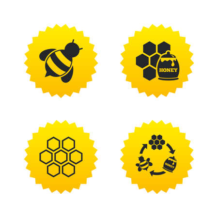 Honey icon. Honeycomb cells with bees symbol. Sweet natural food signs. Yellow stars labels with flat icons. Vector Illustration