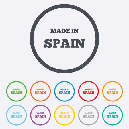 made in spain: Made in Spain icon. Export production symbol. Product created sign. Round circle buttons with frame. Vector