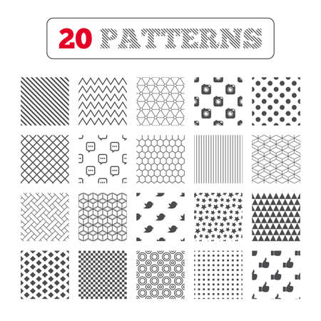 chat up: Ornament patterns, diagonal stripes and stars. Hipster photo camera icon. Like and Chat speech bubble sign. Hand thumb up. Bird symbol. Geometric textures. Vector