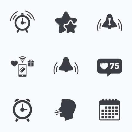 rang: Alarm clock icons. Wake up bell signs symbols. Exclamation mark. Flat talking head, calendar icons. Stars, like counter icons. Vector Illustration