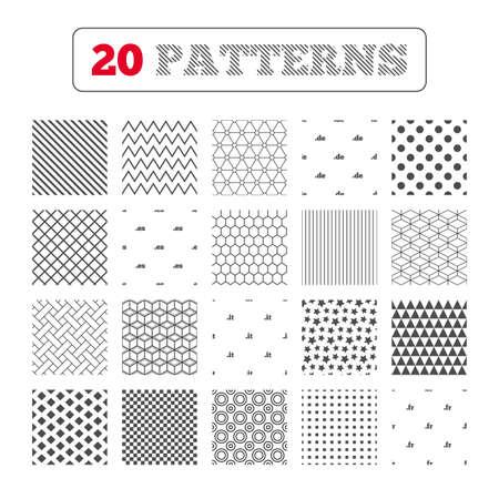 vector es: Ornament patterns, diagonal stripes and stars. Top-level internet domain icons. De, It, Es and Fr symbols. Unique national DNS names. Geometric textures. Vector