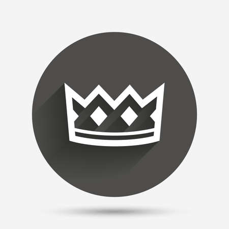 coronation: Crown sign icon. King hat symbol. Circle flat button with shadow. Vector
