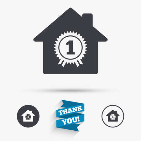 first house: Best home. First place award icon. Prize for winner symbol. Flat icons. Buttons with icons. Thank you ribbon. Vector