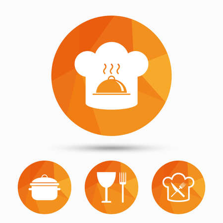 Chief hat and cooking pan icons. Crosswise fork and knife signs. Boil or stew food symbols. Triangular low poly buttons with shadow. Vector Illustration