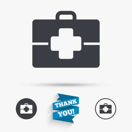 medical case: Medical case sign icon. Doctor symbol. Flat icons. Buttons with icons. Thank you ribbon. Vector