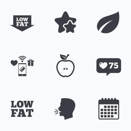lowfat: Low fat arrow icons. Diets and vegetarian food signs. Apple with leaf symbol. Flat talking head, calendar icons. Stars, like counter icons. Vector Illustration