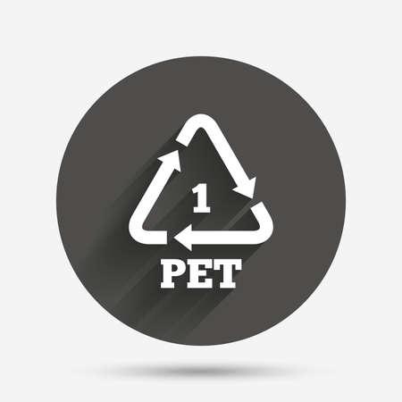 PET 1 icon. Polyethyleentereftalaat teken. Recycling symbool. Flessen verpakking. Cirkel flat knop met schaduw. Vector