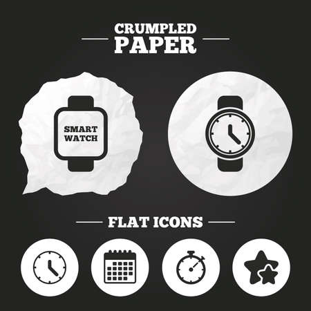 digital timer: Crumpled paper speech bubble. Smart watch icons. Mechanical clock time, Stopwatch timer symbols. Wrist digital watch sign. Paper button. Vector Illustration