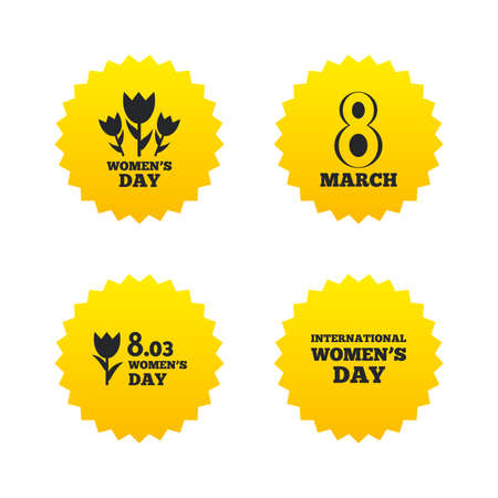 8 March Womens Day icons. Tulips or rose flowers bouquet sign symbols. Yellow stars labels with flat icons. Vector