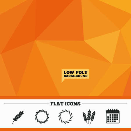 corn stalk: Triangular low poly orange background. Agricultural icons. Gluten free or No gluten signs. Wreath of Wheat corn symbol. Calendar flat icon. Vector