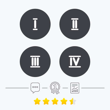 ancient roman: Roman numeral icons. 1, 2, 3 and 4 digit characters. Ancient Rome numeric system. Chat, award medal and report linear icons. Star vote ranking. Vector