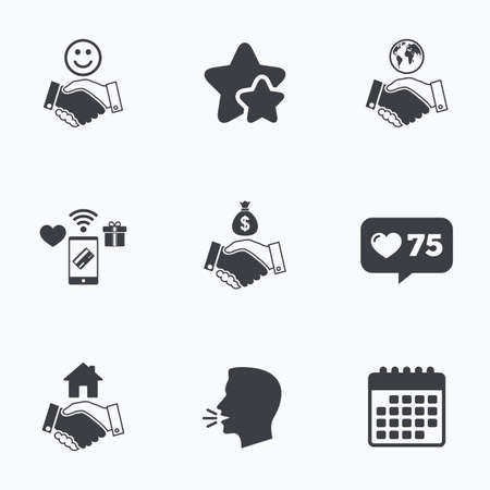 amicable: Handshake icons. World, Smile happy face and house building symbol. Dollar cash money bag. Amicable agreement. Flat talking head, calendar icons. Stars, like counter icons. Vector Illustration
