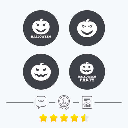 hallows: Halloween pumpkin icons. Halloween party sign symbol. All Hallows Day celebration. Chat, award medal and report linear icons. Star vote ranking. Vector
