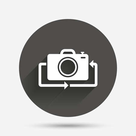 button front: Front photo camera sign icon. Digital photo camera symbol. Change front to back. Circle flat button with shadow. Vector Illustration