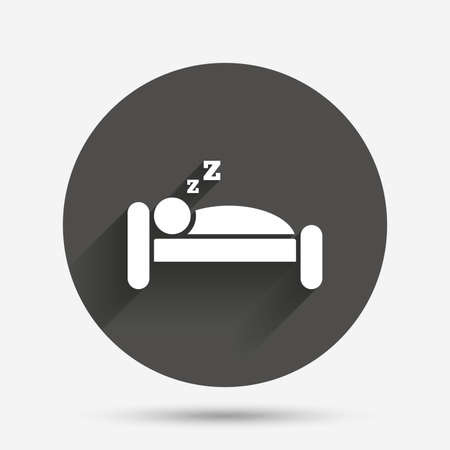 sleeper: Hotel apartment sign icon. Travel rest place. Sleeper symbol. Circle flat button with shadow. Vector