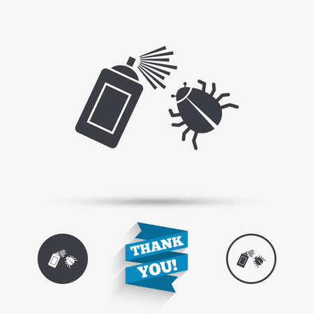acarus: Bug disinfection sign icon. Fumigation symbol. Bug sprayer. Flat icons. Buttons with icons. Thank you ribbon. Vector Illustration