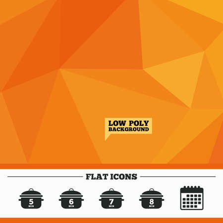 boil: Triangular low poly orange background. Cooking pan icons. Boil 5, 6, 7 and 8 minutes signs. Stew food symbol. Calendar flat icon. Vector