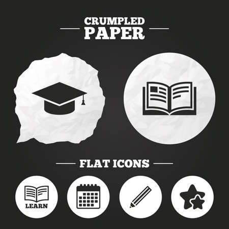 higher education: Crumpled paper speech bubble. Pencil and open book icons. Graduation cap symbol. Higher education learn signs. Paper button. Vector Illustration
