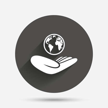 peace stamp: World insurance sign. Hand holds planet symbol. Travel insurance. World peace. Circle flat button with shadow. Vector