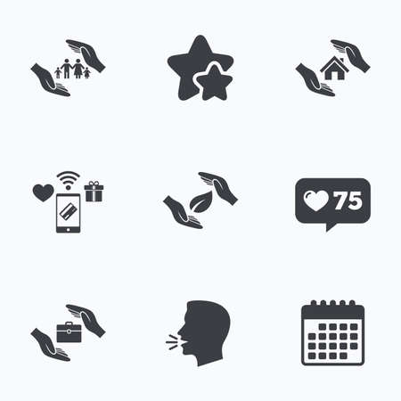 head protection: Hands insurance icons. Human life insurance symbols. Nature leaf protection symbol. House property insurance sign. Flat talking head, calendar icons. Stars, like counter icons. Vector