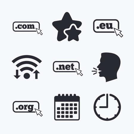 dns: Top-level internet domain icons. Com, Eu, Net and Org symbols with cursor pointer. Unique DNS names. Wifi internet, favorite stars, calendar and clock. Talking head. Vector