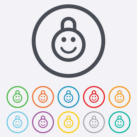 child protection: Child lock icon. Locker with smile symbol. Child protection. Round circle buttons with frame. Vector Illustration