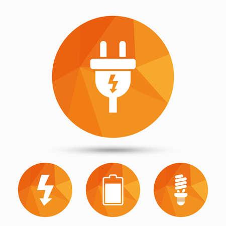 전기 플러그 아이콘입니다. 형광등 및 배터리 기호입니다. 낮은 전기 및 아이디어 표지판. 그림자가있는 삼각형 낮은 폴 버튼. 벡터