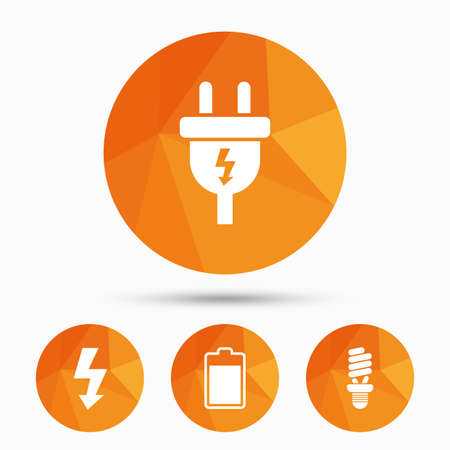enchufe de luz: Electric plug icon. Fluorescent lamp and battery symbols. Low electricity and idea signs. Triangular low poly buttons with shadow. Vector