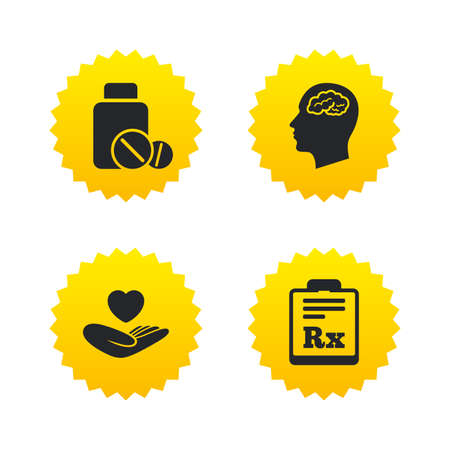 rx: Medicine icons. Medical tablets bottle, head with brain, prescription Rx signs. Pharmacy or medicine symbol. Hand holds heart. Yellow stars labels with flat icons. Vector Illustration