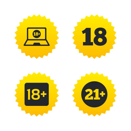 eighteen: Adult content icons. Eighteen and twenty-one plus years sign symbols. Notebook website notice. Yellow stars labels with flat icons. Vector Illustration